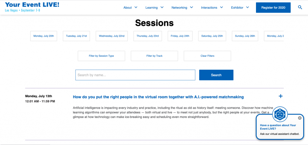 Sessions Overview Pages at GSX+