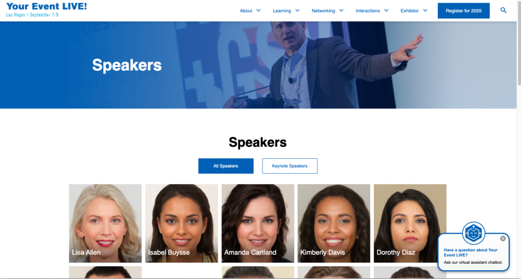 Sample speakers page at GSX+