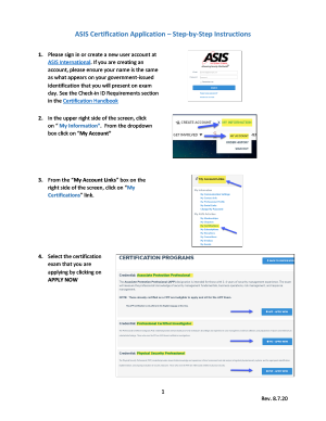 ASIS Certification Application – Step-by Step Instructions