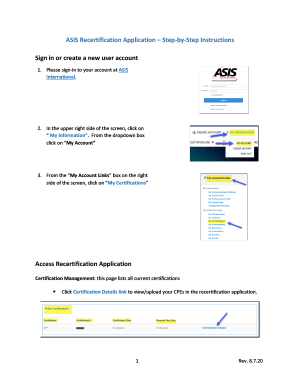 ASIS Recertification Application – Step-by-Step Instructions